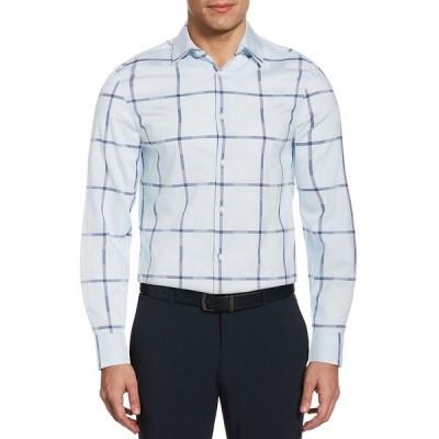 ペリーエリス メンズ シャツ トップス Plaid Dobby Long-Sleeve Woven Shirt Cashmere Blue