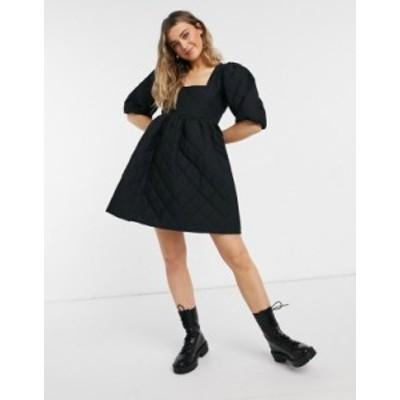 エイソス レディース ワンピース トップス ASOS DESIGN square neck quilted mini smock dress with puff sleeves in black Black
