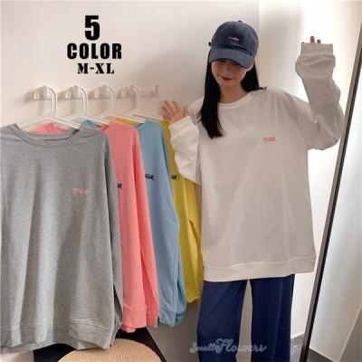 トレーナー Tシャツ レディース 長袖 ゆったり 春秋 無地 大きいサイズ おしゃれ ファッション