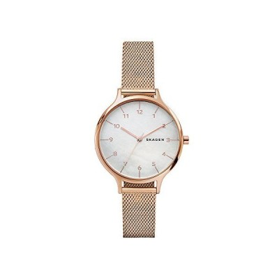 Skagen Women's Anita Quartz Analog Stainless Steel and Stainless Steel Mesh Watch, Color: Rose/Mother of Pearl (Model: SKW2633)【並行輸