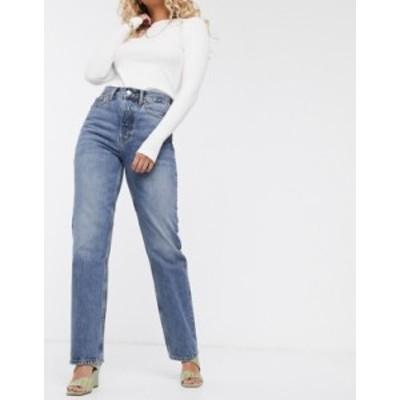 トップショップ レディース デニムパンツ ボトムス Topshop Dad jeans in mid wash Mid blue