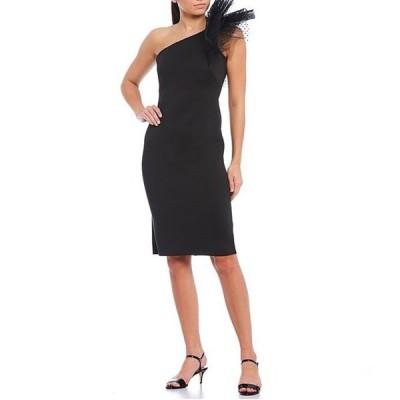 エリザジェイ レディース ワンピース トップス Ruffle Lace One Shoulder Scuba Crepe Sheath Dress