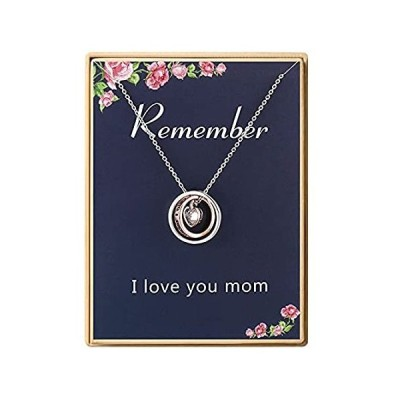 I Love You Mom Double Circle Pendant Necklace Mom Gift for Women