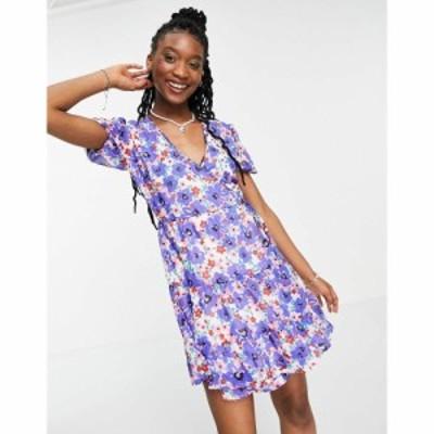 インフルエンス Influence レディース ワンピース Aライン ワンピース・ドレス floral skater dress in blue マルチカラー