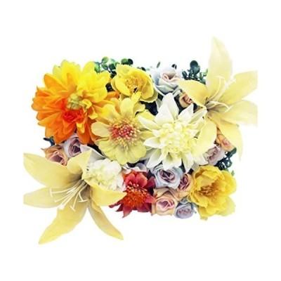 イエロー/額縁付き-Sサイズ 造花 アレンジメント 額縁付 花の芝
