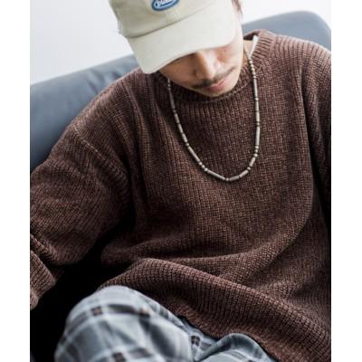 モール糸クルーネックセーター