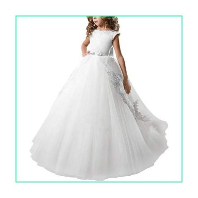 First Communion Dresses Flower Girl Kids Fancy Tulle Satin Lace Cap Sleeves Floral Applique Pageant Fairy Princess Party Gown White 10-11 Years並行