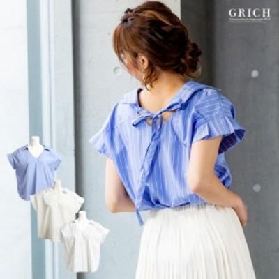 [ゆうパケット対応][180306A][トップス]バックリボン 袖プリーツ スキッパー シャツ[シャツ 半袖 ブラウス きちんと きれいめ リボン 可