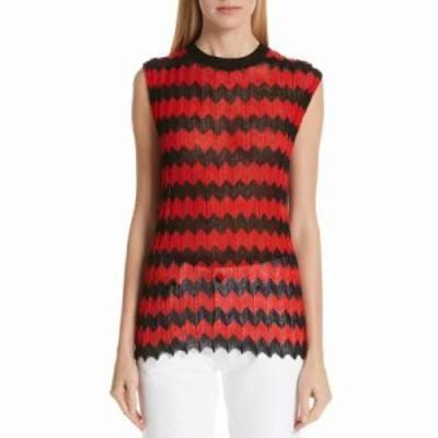 カルバンクライン タンクトップ Chevron Stripe Wool Tank Top Red Black