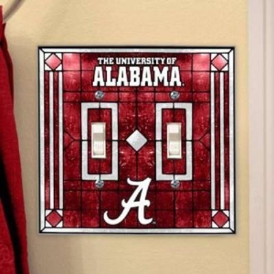 The Memory Company ザ メモリー カンパニー スポーツ用品  Alabama Crimson Tide Art-Glass Double Switch Plate Cover