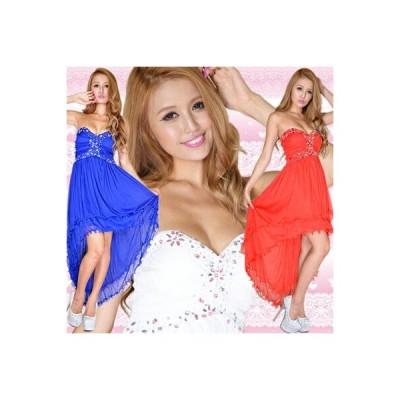 Dress Angelo キャバ ドレス キャバドレス ナイトドレス パーティードレス(/即日発送)胸元ビジューテールカットロングドレス 0337  ドレスキャ