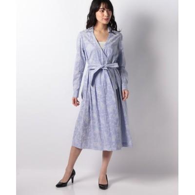 【ラピーヌ ブランシュ】 ストライプ×更紗プリントカシュクールシャツドレス レディース ブルー 40 LAPINE BLANCHE