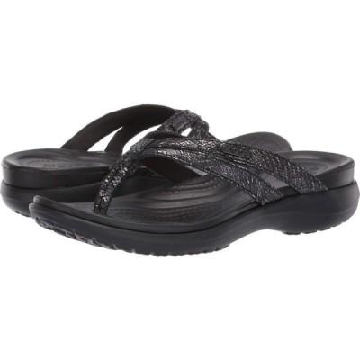 クロックス Crocs レディース ビーチサンダル シューズ・靴 Capri Strappy Flip Black/Black