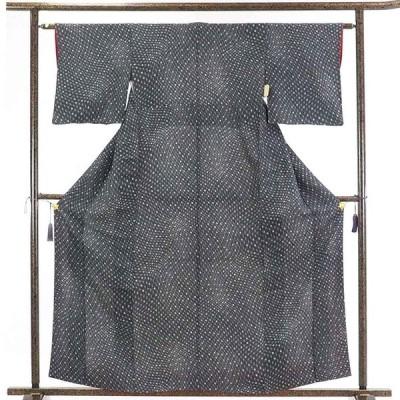 リサイクル着物 小紋 正絹黒地麻の葉柄袷小紋着物