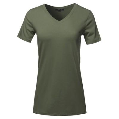 レディース 衣類 トップス A2Y Women's Basic Solid Premium Cotton Short Sleeve V-neck T Shirt Tee Tops Dark Olive S ブラウス&シャツ