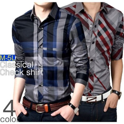 シャツ メンズ 長袖 チェック柄 カジュアルシャツ デザインホック スリム ファション