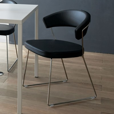 NewYorkニューヨーク 革張りダイニングチェア2脚組[Connubia by Calligaris カリガリス] ホワイト