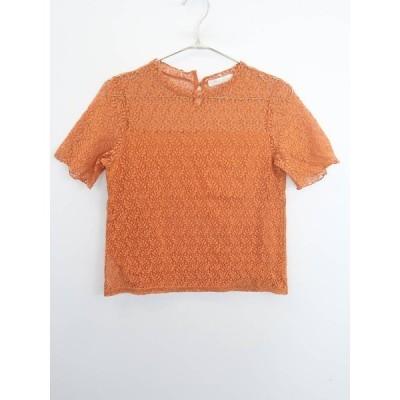 chocol raffine robe(ショコラフィネローブ)レース切替五分袖プルオーバー 五分袖 オレンジ レディース Aランク F