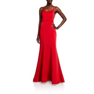 ファビアーナ レディース ワンピース トップス Scoop-Neck Double-Strap Lace-Up Mermaid Gown