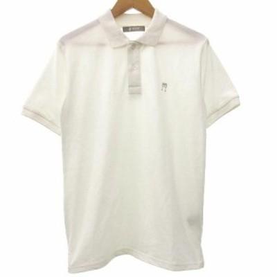 【中古】ナノユニバース nano universe ソリッドカラー刺繍ポロシャツ 半袖 ワイングラス S ホワイト R041002 メンズ