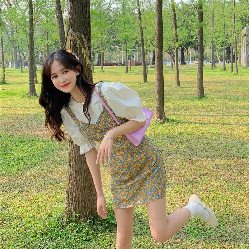 小雛菊 碎花 小清新 韓系小碎花吊帶裙連衣裙女泡泡袖上衣套裝兩件套(分開下單)