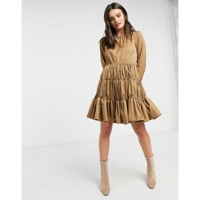 ワイ エー エス Y.A.S レディース ワンピース ミニ丈 ワンピース・ドレス mini dress with gathered tiering in camel ウォームトープ