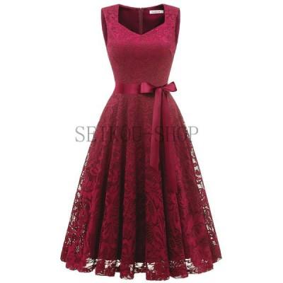 結婚式ドレス フォーマル 総レース 花柄 パーティードレス 大きいサイズ Vネック ノースリーブ 膝丈 ベルト付き ワンピース