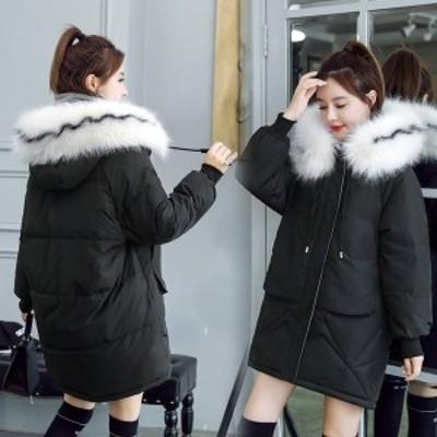中綿ダウンコート レディース 40代 ロング丈 軽い 2019 秋冬 アウター 中綿コート 中綿ジャケット ダウン風コート フード付き 厚手 暖か