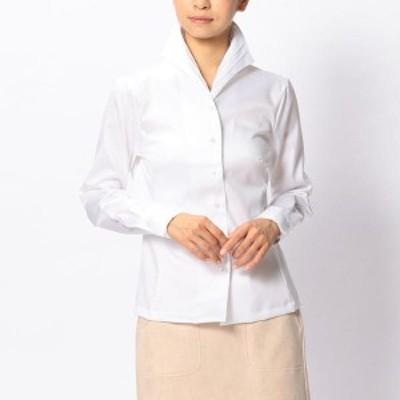 ナラカミーチェ(NARACAMICIE)/コットンツイルピンタックスタンドカラー長袖シャツ