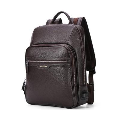 BISON DENIM Real Genuine Leather Backpack Fashion School Camping Travel Bag Shoulder Laptop Rucksack for Men and Women (N2337-Coffee) 並行輸入品