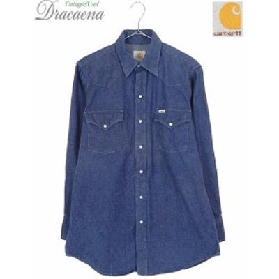 古着 シャツ 90s Carhartt カーハート 濃紺 インディゴ デニム ウエスタン シャツ L位 古着