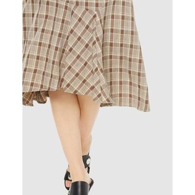 フリーズマート スカート イレギュラーヘムチェック柄スカート レディース 131-9220007 ブラウン×ベージュチェック 日本 FR (