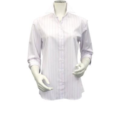 レディース ウィメンズシャツ 七分袖 形態安定 スキッパー衿 オーガニックコットン100% 白×ピンク、パープルストライプ