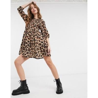 エイソス レディース ワンピース トップス ASOS DESIGN mini smock dress with frill collar in all over leopard print