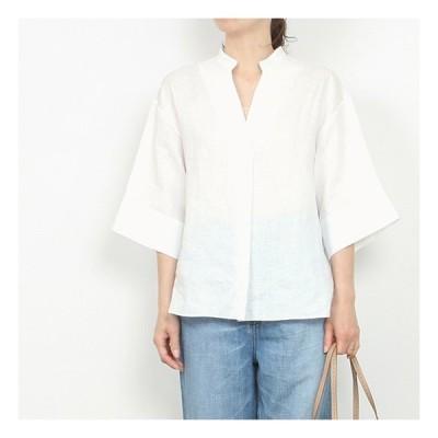 (OUTLET)HELIOPOLE[エリオポール]スタンドカラー7分袖シャツ 4203-1725