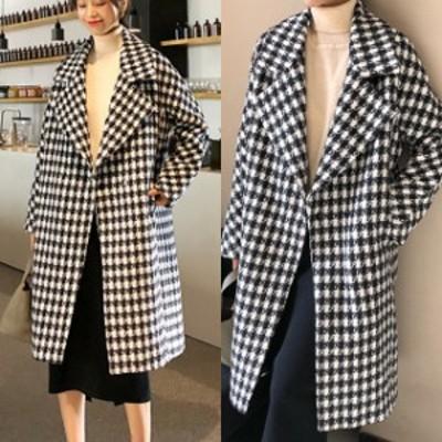 チェックコート ジャケット レディース アウター ロングコート 千鳥格子 大人カジュアル ゆったり 暖か 小さいサイズ