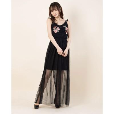 ゲス GUESS GERTRUDE DRESS (JET BLACK W/ FROST GREY)