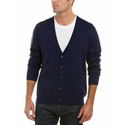 ファッション トップス Qi Merino Wool V-Neck Cardigan L Blue