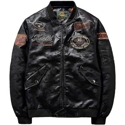 メンズ レザー ジャケット ライダース バイク 刺繍 革ジャン アウター ブルゾン シンプル スリム シングル(ブラック, L)