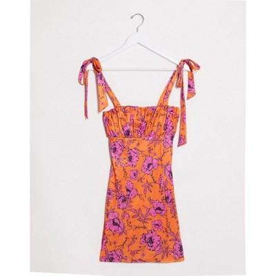 エイソス レディース ワンピース トップス ASOS DESIGN satin bodycon mini dress in floral print Multi