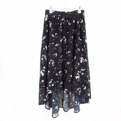 【中古】アンミール AnMILL スカート フレア ミモレ丈 花柄 S 黒 ブラック /MO レディース