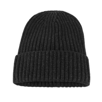 ニット帽子レディースハット秋冬小顔効果保温無地帽子女性おしゃれブラック