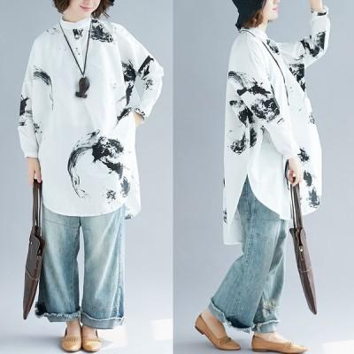 トップス レディース ブラウス ロングシャツ 長袖 ワンピース 体型カバー フェミニン 可愛い 春秋冬 Good Clothes