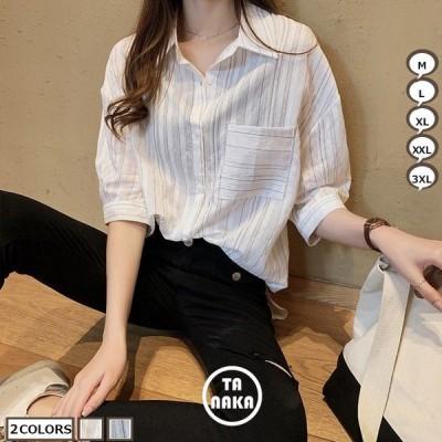 ブラウス レディースシャツ 7分袖ブラウス 春夏 ドルマンスリーブ 着痩せ トップス 薄手シャツ 大きいサイズ ポロネック ゆったり カジュアル