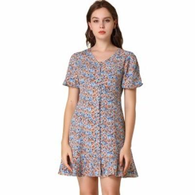 Allegra K ドレス Vネック カジュアル 花柄 半袖 レディース ブルー L