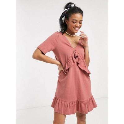 エイソス ASOS DESIGN レディース ワンピース ワンピース・ドレス v front frill seam smock dress in rose ローズ