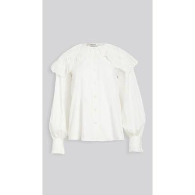 シー Sea レディース ブラウス・シャツ トップス Marina Lace Collar Shirt White
