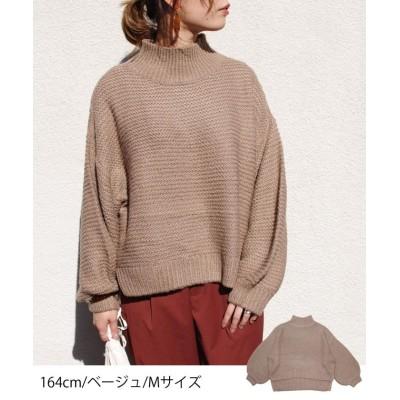 【フィズ】 ガーター編みボリューム袖ニットプルオーバー myke AW レディース ベージュ M Fizz