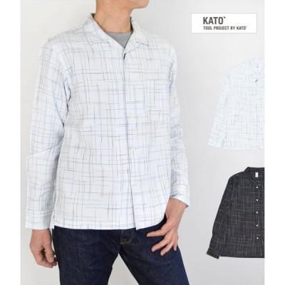 メンズ 長袖シャツ チェック カトー (KATO') かすり オープンカラーシャツ KS912191
