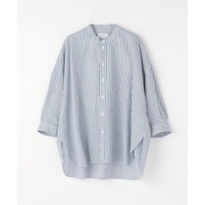 TOMORROWLAND/トゥモローランド Salvatore Piccolo テンセルストライプスタンドカラーシャツ 62 ライトブルー系 38